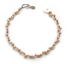 onujewelry.com - Naural Pearl Tiny Tiny Why Knot Bracelet - Eco-chic handcrafted beaded jewelry by Donna Silvestri, On U Jewelry, Richmond, ...