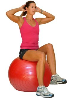 Seated marches on the ball are great for challenging balance and stability while also engaging the core. Sit on the ball with the hands behind the head (optional). Keeping abs engaged lift one foot of Yoga Beginners, Workout For Beginners, Beginner Exercise, Stability Ball Exercises, Balance Exercises, Core Stability, Core Exercises, Floor Exercises, Chair Exercises