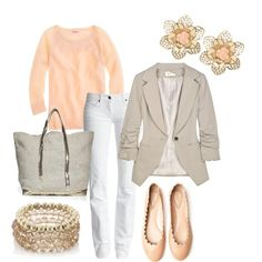 Beige blazer, pink shirt, and white skinnies.