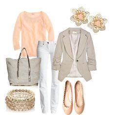 Beige blazer, pink shirt, and white skinnies.