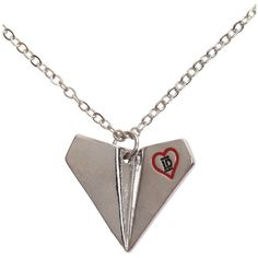 One Direction Paper Plane Necklace | Hot Topic (33 BRL) ❤ liked on Polyvore featuring jewelry, necklaces, paper necklace, paper jewelry, pendant jewelry and pendants & necklaces