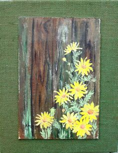 Acrylic Painted DAISIES on Wood with Burlap