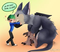 "chibi-megimoo: "" i manage to draw something, even though i'm still in my exams aaa… :'''D anyways! Enjoy - Chibi jacksepticeye and Baby Trico! :D because my art style only can make trico look like a baby… when i first saw jack's tweet about he's new..."