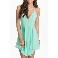 Green Sexy T Back Layered Skater Dress ($15) ❤ liked on Polyvore featuring dresses, light green, flare dress, sexy halter dress, sexy halter tops, v neck dress and spaghetti strap dress