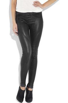 Helmut Lang Seamed leather leggings1