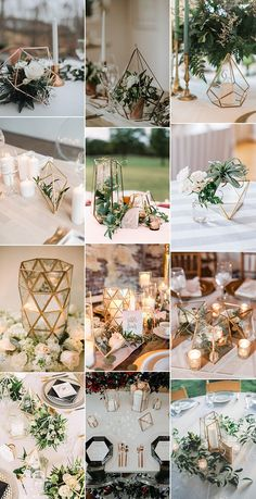 trending industrial geometric wedding centerpieces