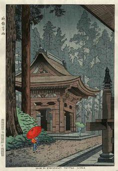 Rain at Enryakuji Temple, Shiga by Takeji Asano, 1953  (published by Unsodo)