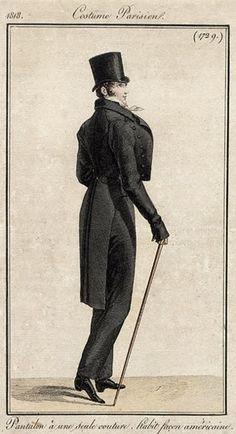 Regency Fashion Plate. Costume Parisien 1818.