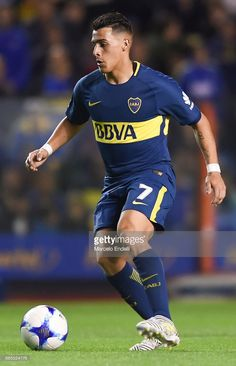 Cristian Pavon of Boca Juniors drives the ball during a match between Boca Juniors and Arsenal as part of the Superliga at Alberto J. Armando Stadium on December 2017 in Buenos Aires, Argentina. World Library, Dream Team, Neymar, Football Players, Arsenal, Squad, Soccer, Guys, Wallpaper