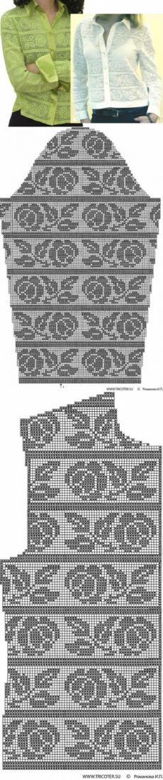 Филейное вязание - Ткань+вязание