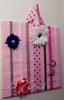 hair clip holder....board covered in fabric, then ribbon hot-glued on.