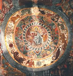 """In the centre is Christ Enthroned encircled by the sun and moon and signs of the Zodiac, a reference to """"praise him all his angels……. ye sun..."""