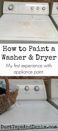 How to paint a washer and dryer. My first experience with appliance paint. Washing machine makeover! DuctTapeAndDenim.com