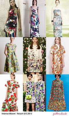 Catwalk Print Trends   Cruise / Resort Pre Spring/Summer 2013 Florals – Powerful, Bold Colour Plays – Saturated Prints & Botanical Studies – Tropical References – 60s Floral