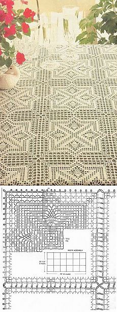 One of my favorite crochet patterns. I've made this many times in various colors and sizes. Makes an easy, fast, and beautiful gift for a special occasion. Crochet Motif Patterns, Crochet Blocks, Crochet Chart, Crochet Squares, Thread Crochet, Crochet Stitches, Crochet Table Runner, Crochet Tablecloth, Crochet Doilies