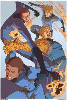 Concept póster desechado de Cuatro Fantásticos / Fantastic Four (2015), por Dave Rapoza