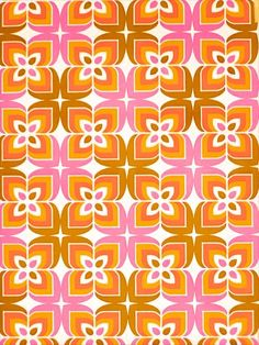 Vintage Retro Seventies Geometric Vinyl Wallpaper. Amazing retro geometric vinyl wallpaper with super seventies pattern in pink, orange, brown and white color. Great colors combination and great design. A must-have wallpaper. Vinyl wallpaper is mostly used for playrooms, hallways, bathrooms and kitchens.