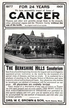 Berkshire Hills Sanitorium -1901 - this was in North Adams, MA, my husband's hometown.  I never knew about this - very cool!