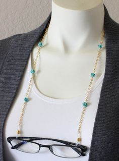 Gold Eyeglass Chains with Turquoise Rose Flowers by HalfSnow