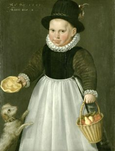 1581 Jacob Willemsz. Delff (Dutch artist, c 1550-1601) A Little Boy with Dog
