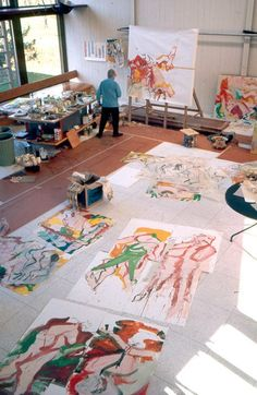 Willem de Kooning by Thomas Hoepker. I want a big art studio in my house one day..