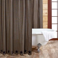 The Black Star Shower Curtain features a delicate black and tan check pattern with 5 Point stars appliqued along the scalloped edges in solid black. Shower curtain measures x Save on your order! Primitive Bathrooms, Primitive Homes, Primitive Kitchen, Primitive Country, Primitive Decor, Country Bathrooms, Vintage Bathrooms, Primitive Christmas, Shower Curtain Rods