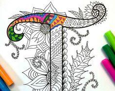 8.5 x 11 página para colorear de la letra mayúscula F - inspirada en la fuente Harrington PDF  Diversión para todas las edades.  Aliviar el estrés, o simplemente relajarse y divertirse con tus lápices de colores favoritos, plumas, acuarelas, pintura, pastel o lápices de colores.  Imprimir en papel cartulina u otro papel grueso (recomendado).  Arte original de Devyn Brewer (DJPenscript).  Sólo para uso personal. Por favor, no reproducir o vender este artículo.  CÓMO DESCARGAR LOS ARCHIVOS…