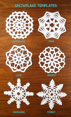 How to make paper snowflakes! Click through to print out the paper snowflake patterns. Learn how to make paper snowflakes with this easy video tutorial and snowflake patterns. Easy DIY Christmas holiday kids craft and home decor. Paper Snowflake Template, Paper Snowflake Patterns, Snowflake Cutouts, Snowflake Craft, Snowflake Decorations, Paper Christmas Decorations, Snowflake Designs, Holiday Crafts For Kids, Easy Christmas Crafts