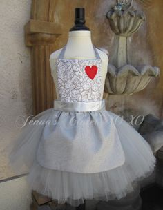 Inspired by Wizard of Oz Tin Man / Girl  / Dress Up Costume Apron /  Full Apron unattached silver tutu and red heart and silver ribbon halo on Etsy, $55.00
