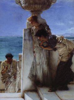 Lawrence Alma-Tadema (Dutch painter) 1836 - 1912 |  Een uitgemaakte zaak (A Foregone Conclusion), 1885  Opus 273-CCLXXIII  oil on canvas  31.1 x 22.9 cm. (12.24 x 9.02 in.)  Tate Britain, London, United Kingdom