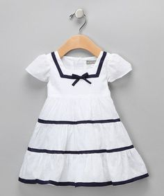 Take a look at this White & Navy Nautical Dress - Infant by Petit Confection on #zulily today!