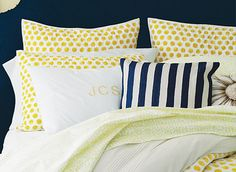 Love this look from Land's End: monogram, navy stripes, yellow polka dot (guest bedroom)
