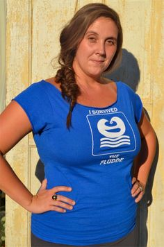 Upcycled Off-the-Shoulder Ironic T,  Electric Blue with Ark-Dove Symbol - I Survived the Fludde - S/M. $15.00, via Etsy.
