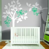 Monkey's in a tree sticker wall art Baby Nest, Tree Wall Art, Baby Nursery Decor, Cribs, Monkey, Bedding, Sticker, Furniture, Home Decor