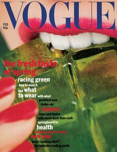 Vogue UK cover, 1977.Art direction by Terry Jones.