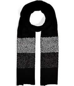 Two-tone embellished striping lends a dressy finish to DKNY's soft merino scarf #Stylebop