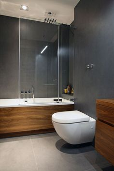 bathroom - grey, with wooden bath? you already have the wood with we could stain darker, just paint the walls and get rid of the glass. Contemporary Bathrooms, Modern Bathroom Design, Bathroom Interior Design, Bathroom Designs, Contemporary Decor, Modern Design, Grey Bathrooms, Beautiful Bathrooms, Master Bathroom