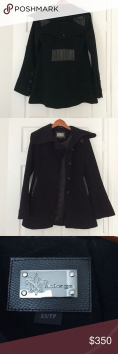 Mackage wool Coat Beautiful leather detail, slight bell arms which are in season perfect winter coat. Size xsmall Mackage Jackets & Coats Pea Coats