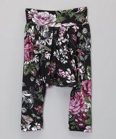 Black Midnight Rose Harem Pants - Infant, Toddler & Girls