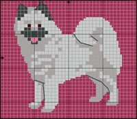 Eurasier Cross Stitch Alphabet Patterns, Cross Stitch Charts, Quilt Patterns Free, Embroidery Patterns, Dog Chart, Pixel Drawing, Animal Quilts, Dog Pattern, Cross Stitch Animals