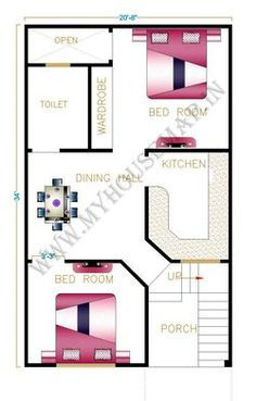 20 40 House Plans New House Map Front Elevation Design House Map 2bhk House Plan, Model House Plan, House Layout Plans, Bungalow House Plans, Bedroom House Plans, New House Plans, House Layouts, 20x30 House Plans, Modern House Floor Plans
