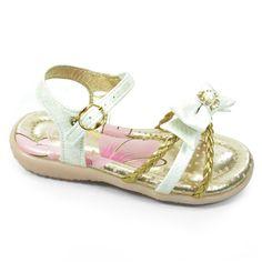 Sandália Infantil Menina Kidy Baby - 0020380 - Branco/Ouro
