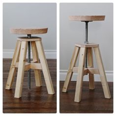 DIY Adjustable height stool made of hardware store parts and 2x2s. Free plans from ana-white.com  Now this is the harder part of making this stool. There are easier ways but we felt that this was the