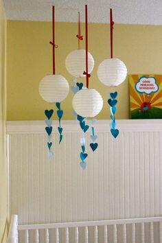 Whimsical Modern Baby Mobile - Lanterns Rain Hearts - Wedding Decor Centerpiece - Shower Gift.