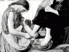 мытье ног  мужчины в брюках