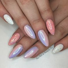 Spring nails using prohesion acrylic and gelish colours with magpie glitter