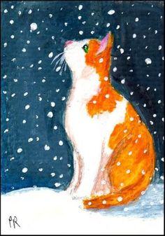 "Daily Paintworks - ""Curious Kittys First Snow"" - Original Fine Art for Sale - © Patricia Ann Rizzo"