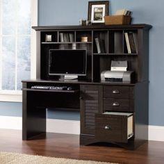 Sauder Harbor View Computer Desk with Hutch Antiqued Paint:Amazon:Furniture & Decor