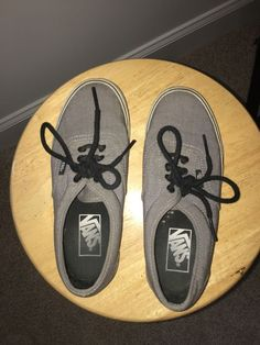 cac97a1f5306c7 Grey vans black laces mens size 4.5 womens size 6 shoe comfy  fashion   clothing