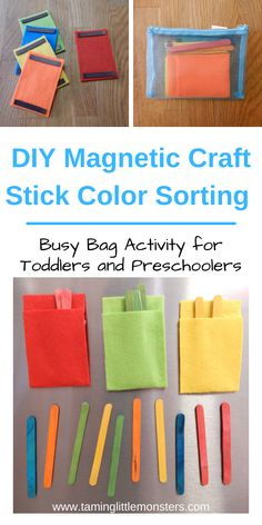 Learn how to make this DIY puzzle for kids. This color sorting activity is fantastic for developing fine motor skills and problem solving. Turn it into a busy bag for toddlers, preschoolers or kindergartners who need some quiet time.  #DIYproject #finemotor #colors #toddler #preschooler #kindergartner Activities For 2 Year Olds, Fun Activities For Toddlers, Preschool Activities, Motor Activities, Toddler Busy Bags, Toddler Play, Toddler Preschool, Learning Colors For Kids, Easy Diys For Kids